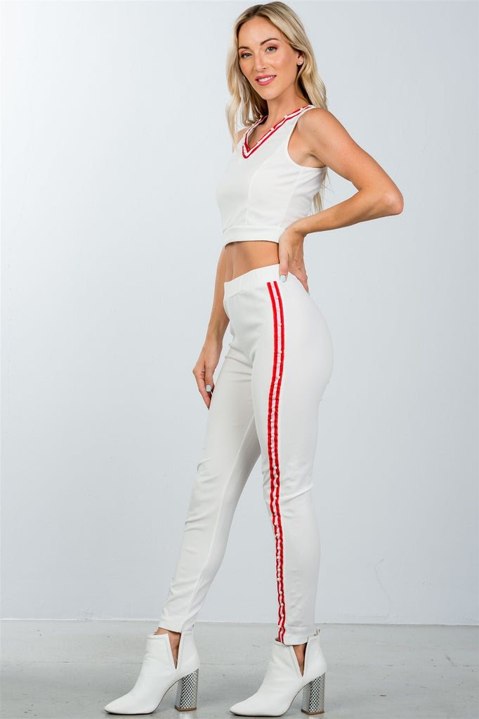 Ladies fashion  faux pearl accent crop top with pants set - Hype Fashion