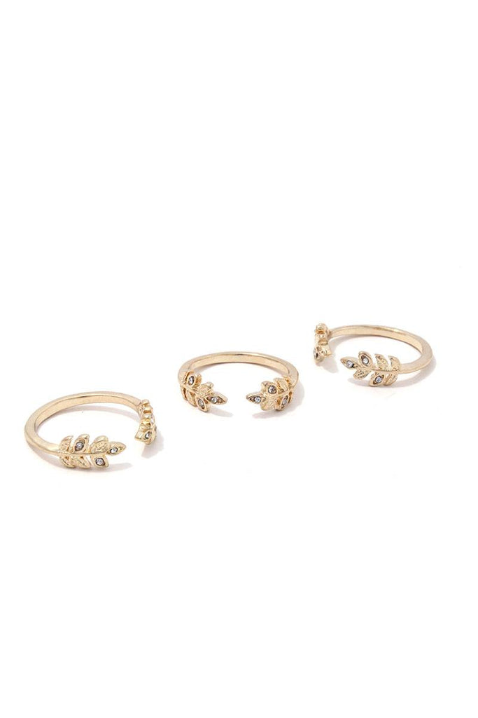 Rhinestone Leaf Ended Cuff Ring Set - Hype Fashion