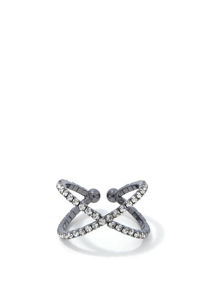 Criss Cross Rhinestone Ring - Hype Fashion
