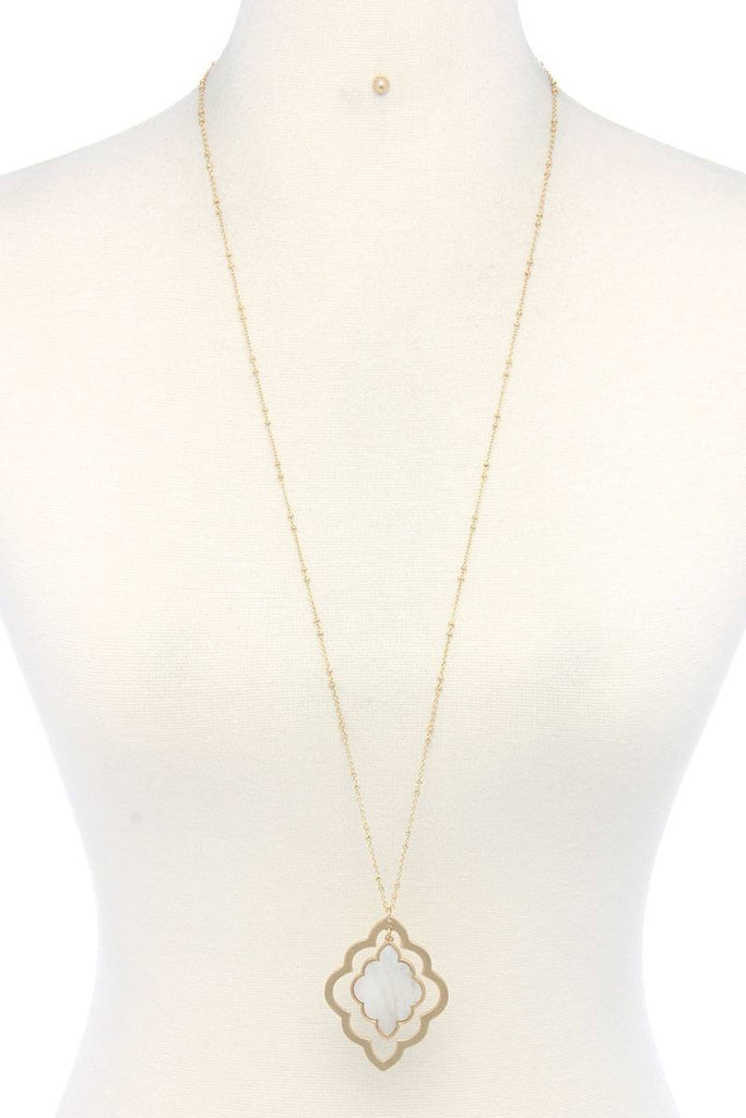 Double Moroccan Shape Pendant Necklace - Hype Fashion