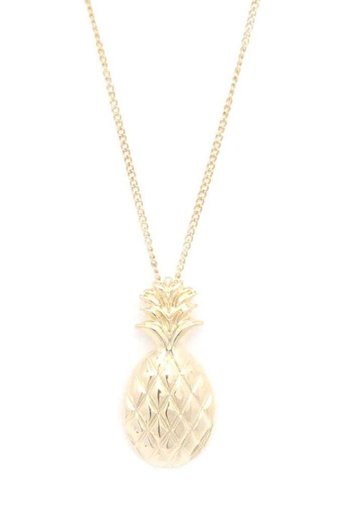 Hammered Pineapple Pendant Multi Cord Necklace And Earring Set - Hype Fashion