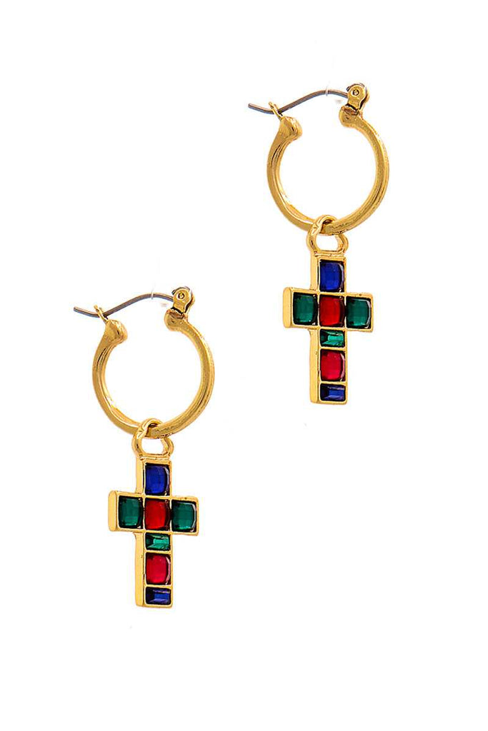 Fashion Multi Rhinestone Cross Drop Earring - Hype Fashion