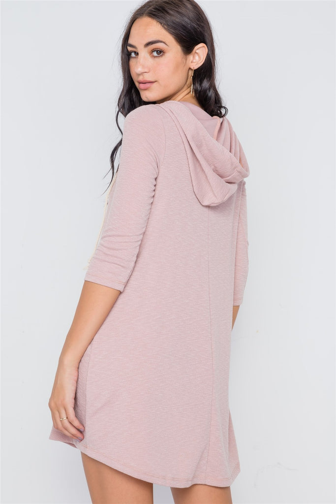 Knit Hooded Mini Dress - Hype Fashion