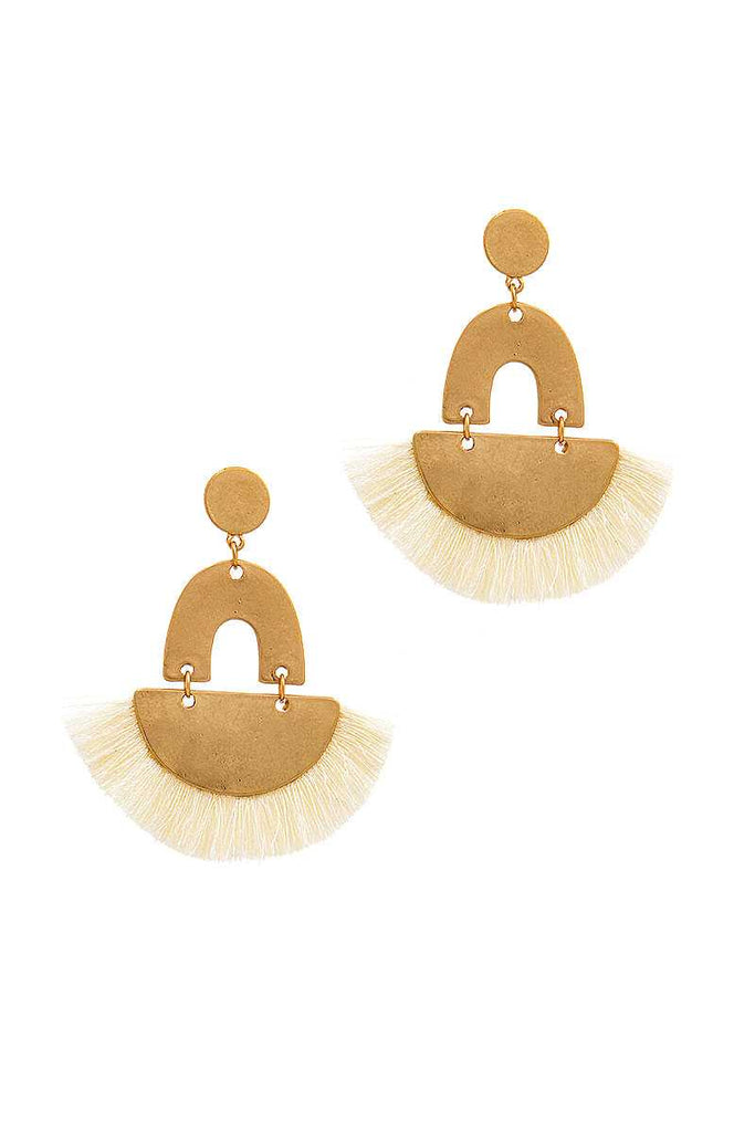Trendy Fan Tassel Drop Chic Earring - Hype Fashion