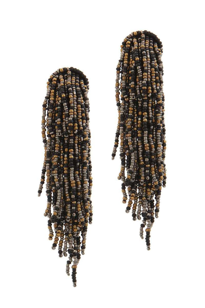 Seed Bead Multi Strand Dangle Post Drop Earring - Hype Fashion