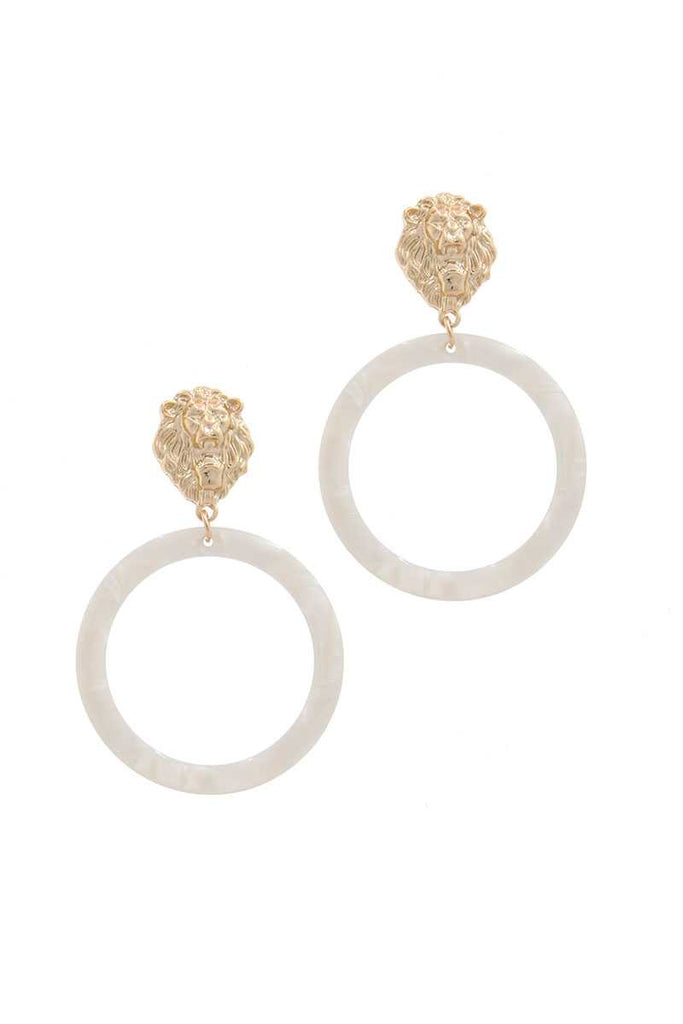 Acetate Ring Lion Linked Drop Earring - Hype Fashion