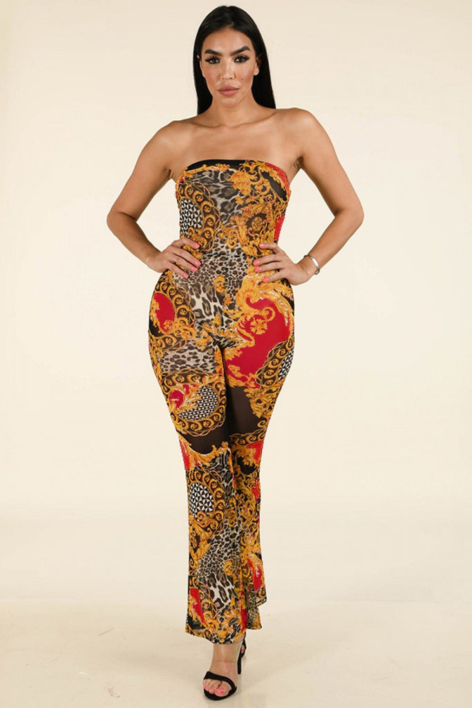 Lux Printed Tube Jumpsuit - Hype Fashion