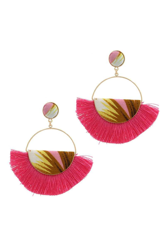 Fabric Half Circle Fan Tassel Post Drop Earring - Hype Fashion