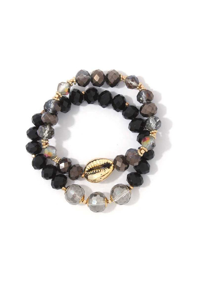Cowrie Charm Beaded Stretch Bracelet Set - Hype Fashion