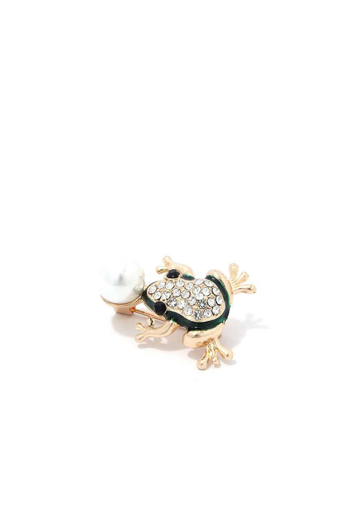 Rhinestone Frog Brooch - Hype Fashion