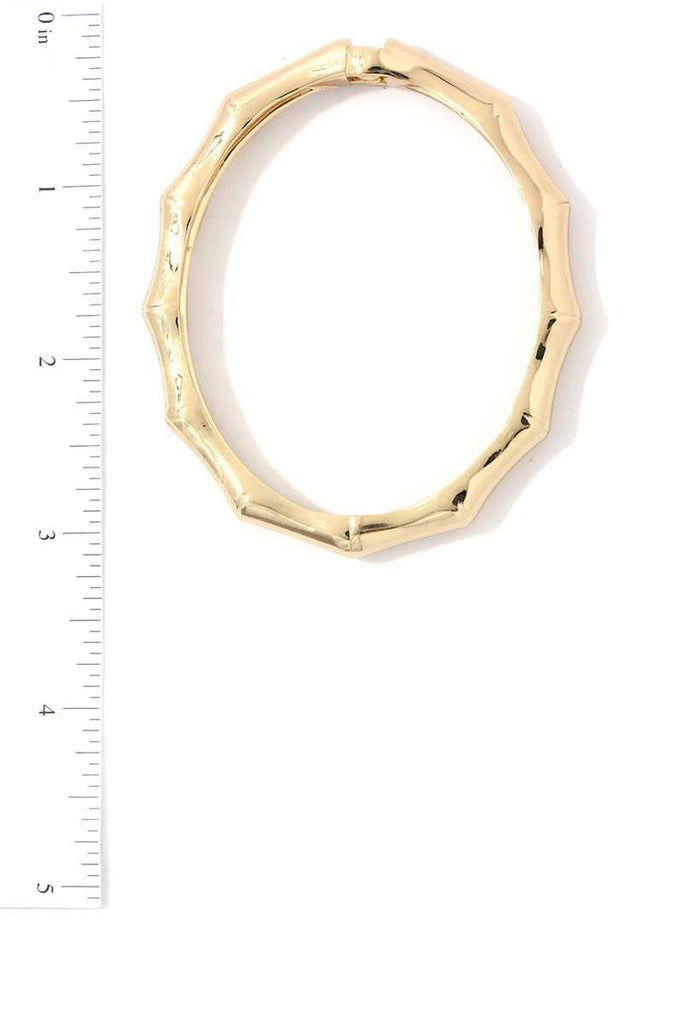 Bamboo Shape Metal Bangle Bracelet - Hype Fashion