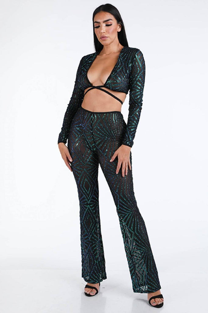 Finale Glitter Pants Set - Hype Fashion