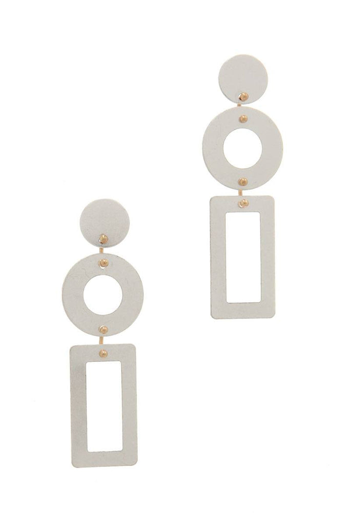 Cut Out Rectangular Shape Post Drop Earring - Hype Fashion