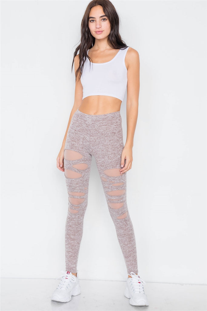 Marled Taupe Sheer Lining Distressed Leggings - Hype Fashion