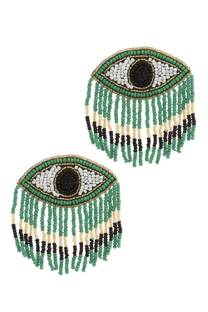 Stylish Evil Eye Drop Fringe Earring - Hype Fashion