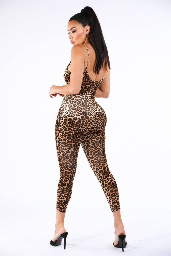 Keke Leopard Spandex Jumpsuit - Hype Fashion
