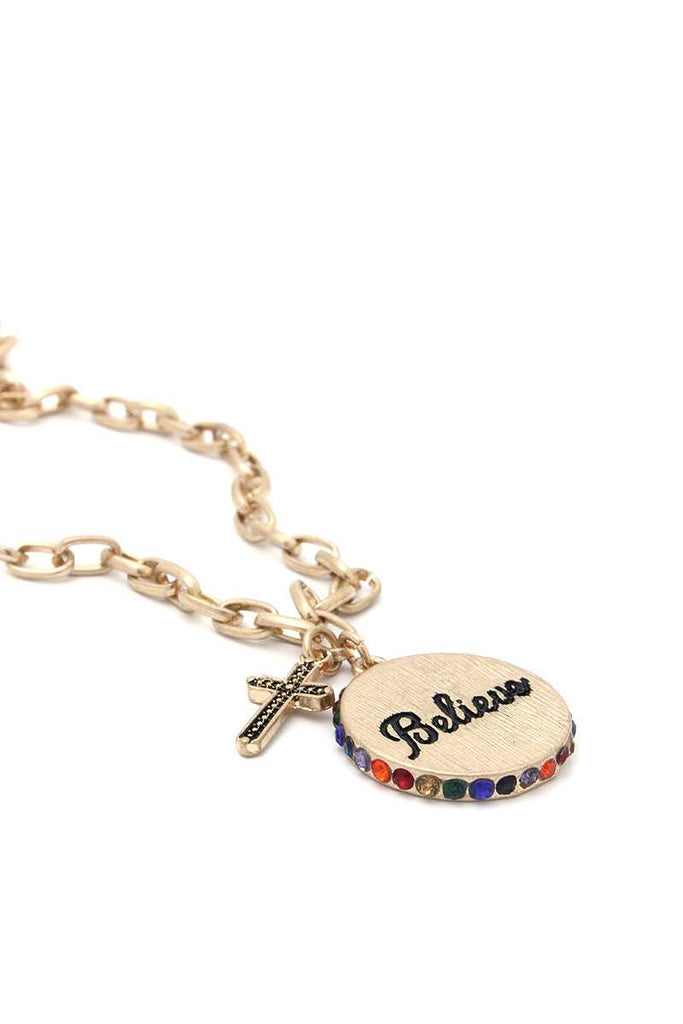 Believe Engrave Metal Circle Pendant Necklace - Hype Fashion