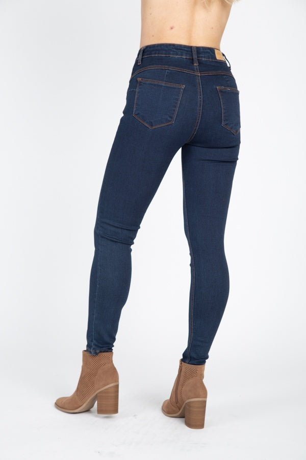 High Rise Denim Skinny Jeans - Hype Fashion