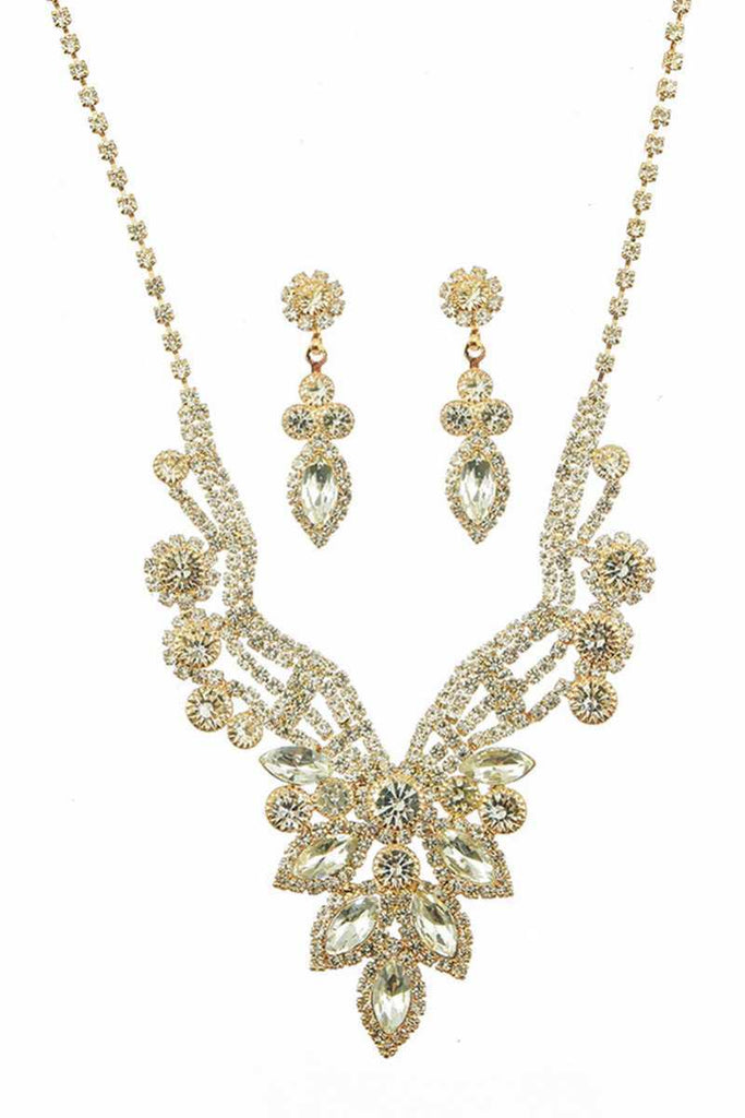 Luxury Marquise Multi Rhinestone Necklace And Earring Set - Hype Fashion