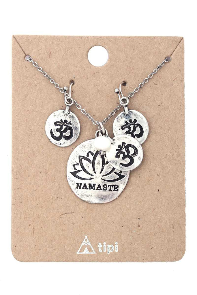 Namaste Engraved Pendant Necklace - Hype Fashion