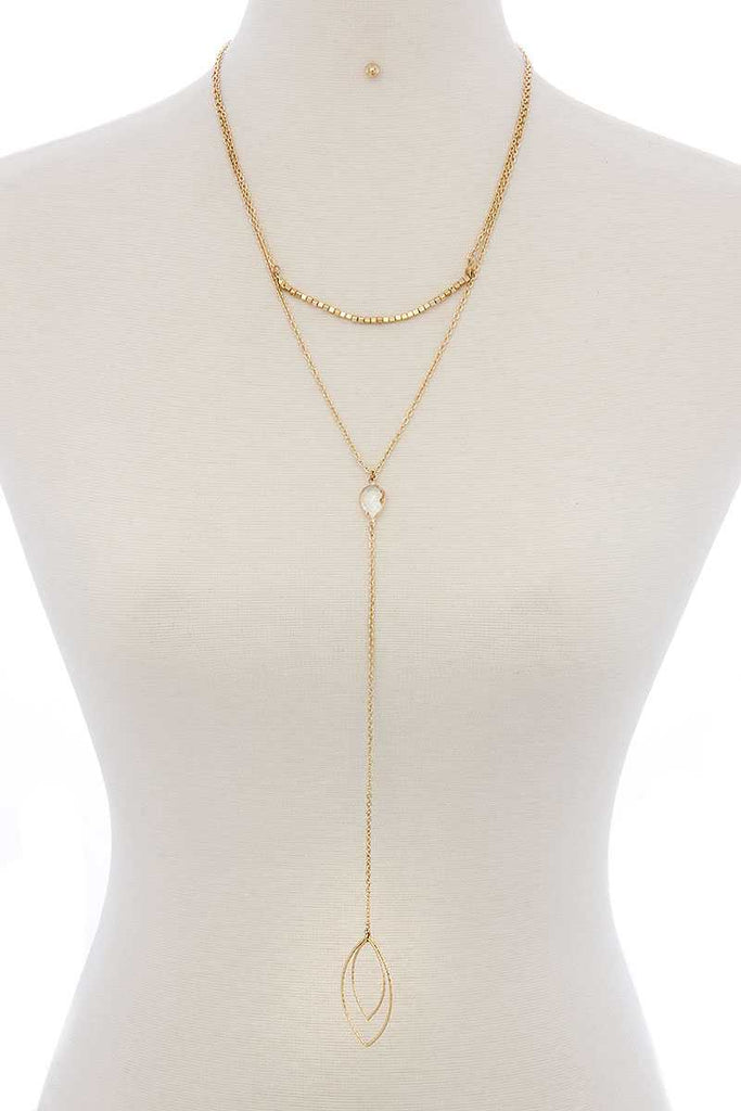 Cutout Pointed Oval Y-shaped Layered Long Necklace - Hype Fashion