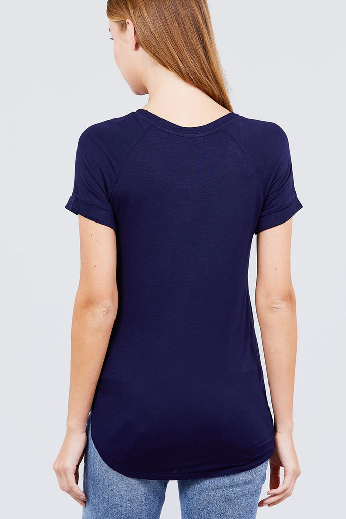 Short Raglan Sleeve Round Neck W/pocket Rayon Spandex Top - Hype Fashion