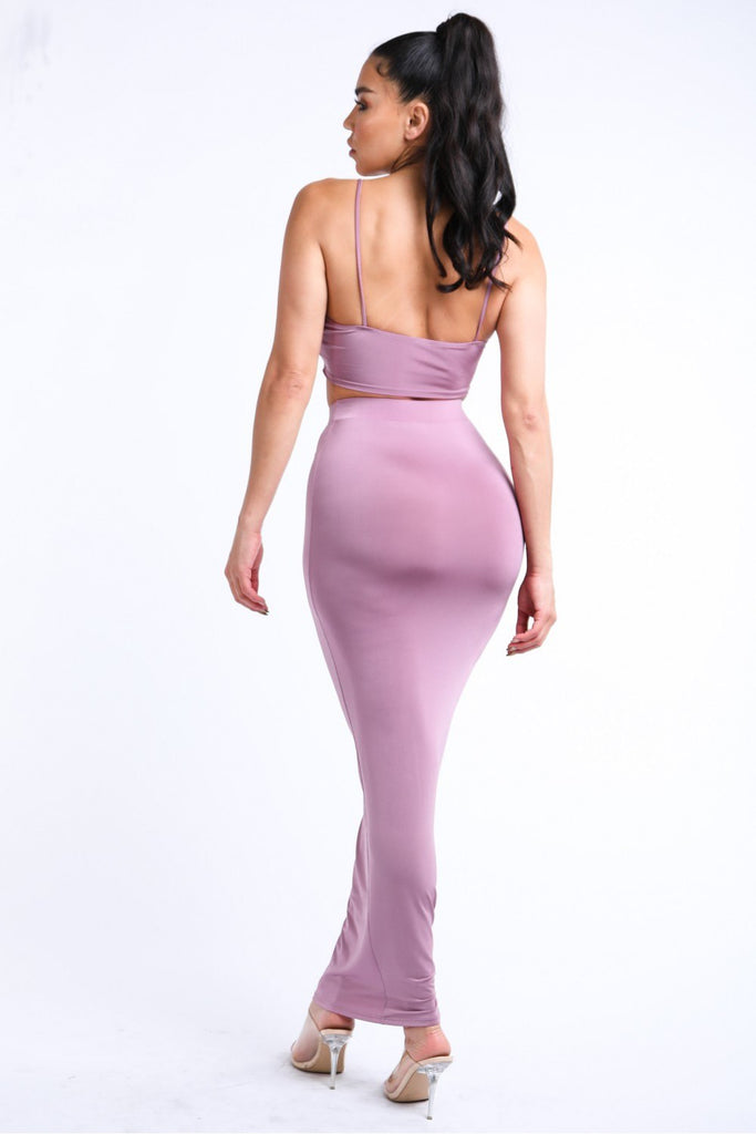 Chained Tank Top & Solid Maxi Skirt Set - Hype Fashion