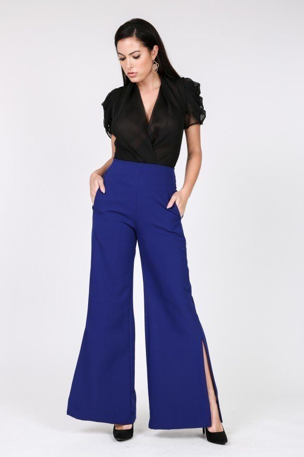 Side Slit Detail Wide Leg Pants - Hype Fashion
