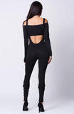 Pomp Off Shoulder Crop Solid Jumpsuit - Hype Fashion