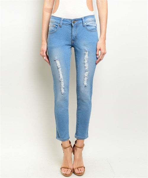 Hype Women's Denim Jeans Light Wash Distressed  Pants - Hype Fashion