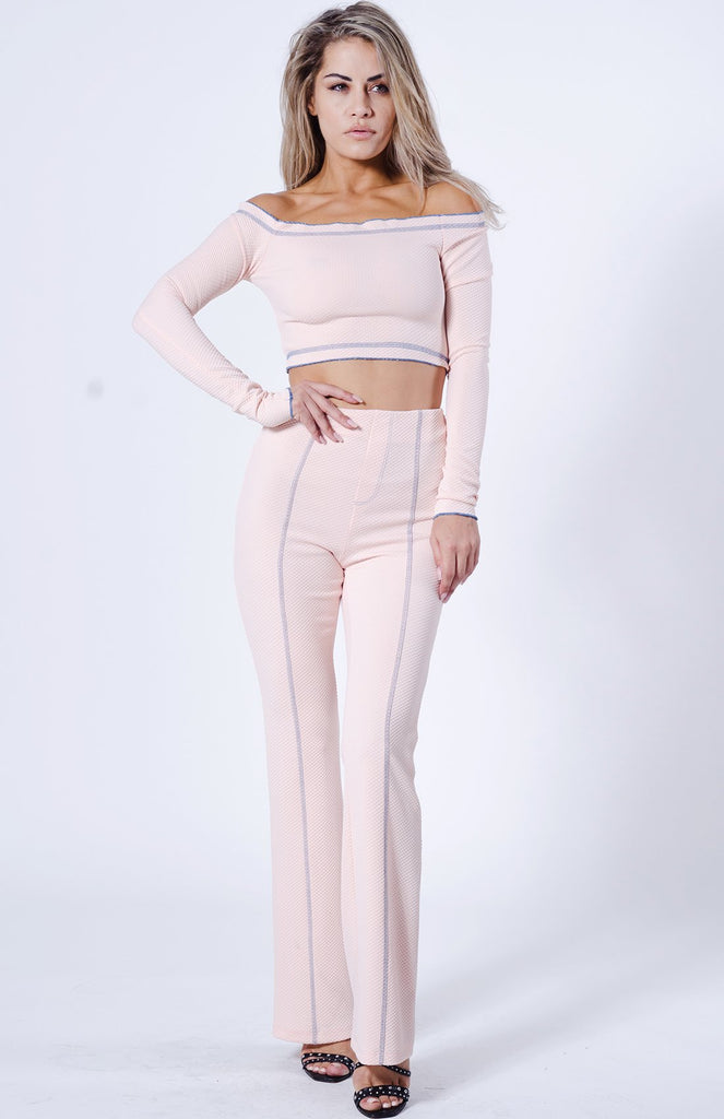 Sporty Off Shoulder Textured Pant Set - Hype Fashion