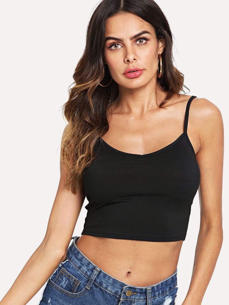 Rib Knit Crop Cami Top - Hype Fashion