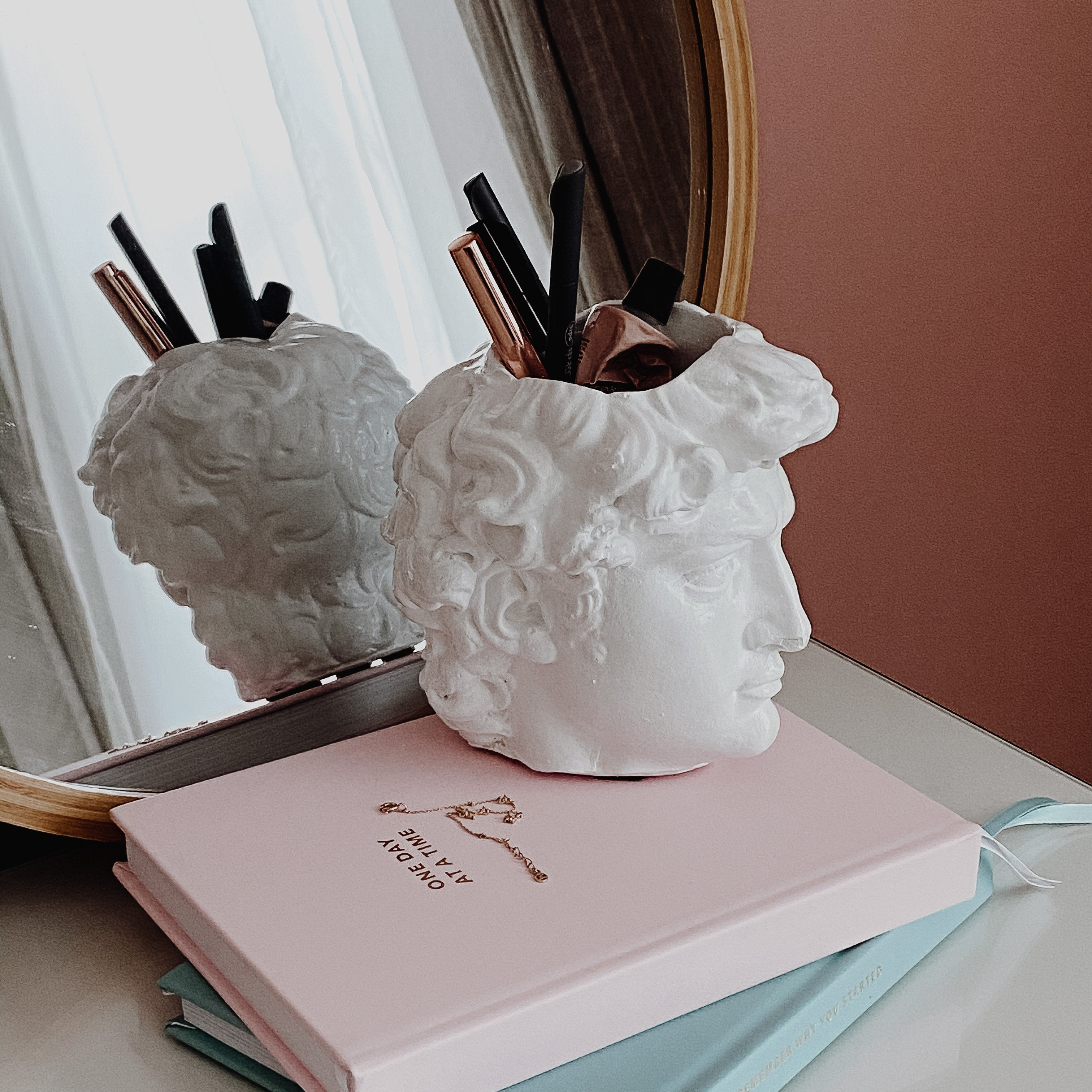David Bust: Pen holder & Desk Organizer, Handmade
