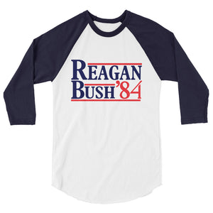 Retro Reagan Bush '84 Raglan Tee Shirt
