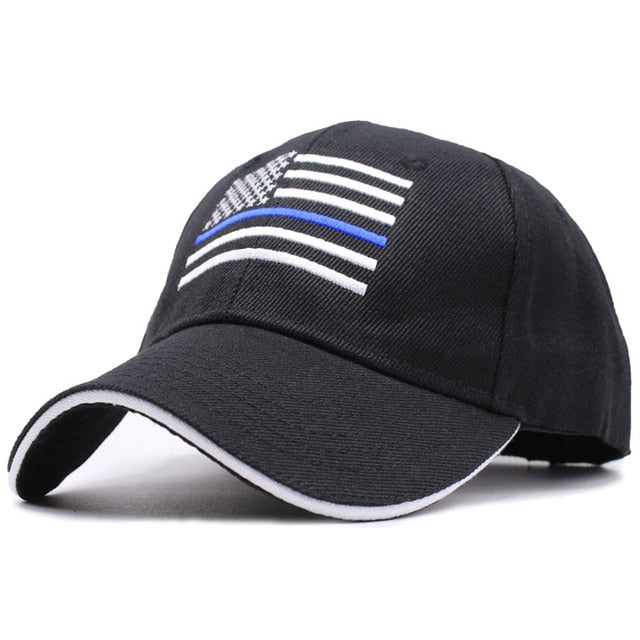 Thin BLUE Line USA American Flag Police Hat