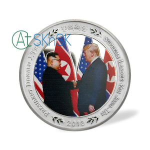 President Donald Trump Kim Jong Un Coin Singapore Peace Talk