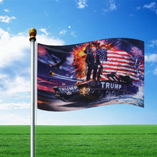 Load image into Gallery viewer, American BadAss Donald Trump Riding A Tank Fireworks Flag Banner