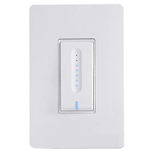 Alexa Certified Smart Dimmer LED Wall Switch with White Faceplate Compatible...