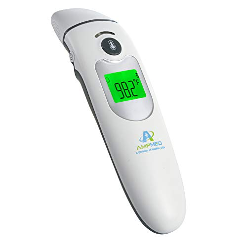 Amplim Contact/Non Contact Digital Forehead Thermometer small, Silver White