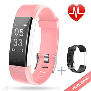Lintelek Fitness Tracker with Heart Rate Monitor, pink + replacement band