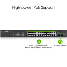 Load image into Gallery viewer, ZyXEL 24-Port Gigabit Ethernet Smart Managed Rackmount PoE 170W PoE+, Black