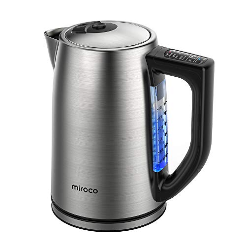 Miroco Electric Kettle Temperature Control Stainless Steel 1.7 L 1.7L, Silver