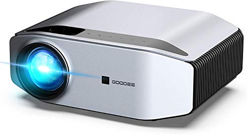 GooDee Portable Outdoor Movie Projector – Native 1080P Home Theater Silver