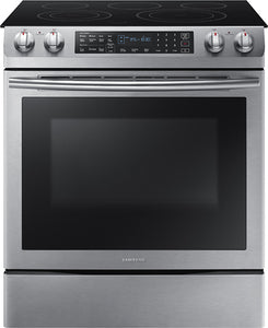 Samsung - 5.8 Cu. Ft. Electric Self-Cleaning Slide-In Range with Convection...