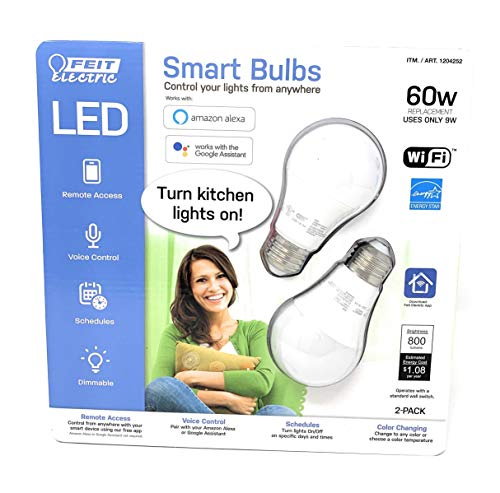FEIT Electric Smart Wi-Fi LED Color Changing Dimmable 2 Pack, Feit