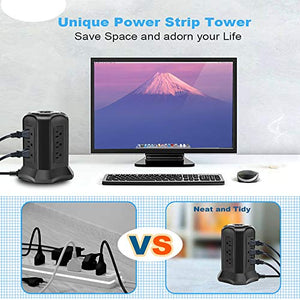 BEVA Power Strip Tower with 9 AC-Outlets and 4 USB Charging Ports Switch...