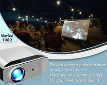 Load image into Gallery viewer, GooDee Portable Outdoor Movie Projector – Native 1080P Home Theater Silver
