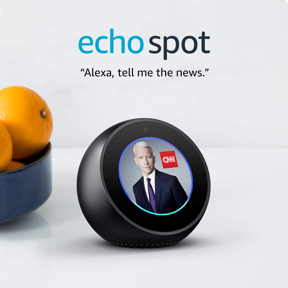 Echo Spot - Smart Alarm Clock with Alexa - Black, Black