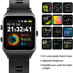 FITVII GPS Smartwatch with 17 Sports Mode Activity Tracker IP68 BLACK