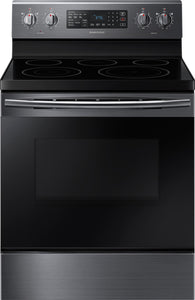 Samsung - 5.9 cu. ft. Convection Freestanding Fingerprint Resistant Electric...